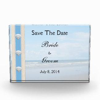 Seashell Beach Wedding Save The Date Acrylic Award