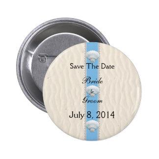Seashell Beach Wedding Save The Date Pinback Button