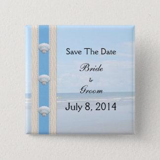 Seashell Beach Wedding Save The Date Button