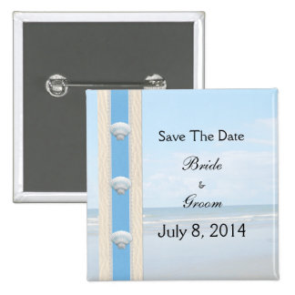 Seashell Beach Wedding Save The Date Button
