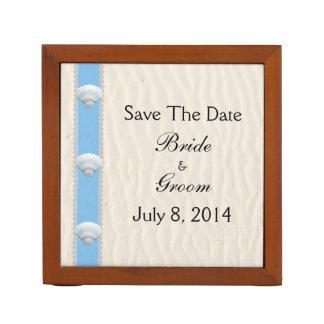 Seashell Beach Wedding Save The Date Pencil Holder
