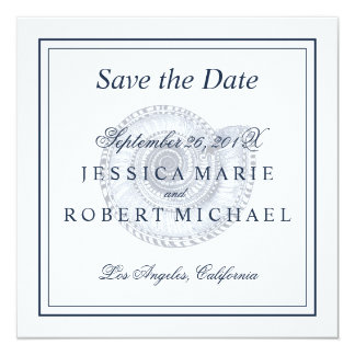 Seashell Beach Wedding Save the Date Square - Navy Card