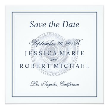 Beach Themed Seashell Beach Wedding Save the Date Square - Navy Card