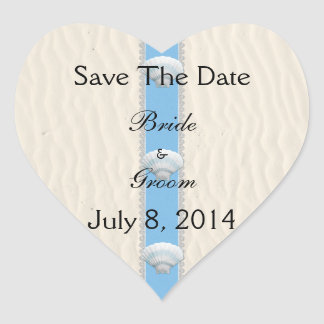 Seashell Beach Wedding Save The Date Heart Sticker