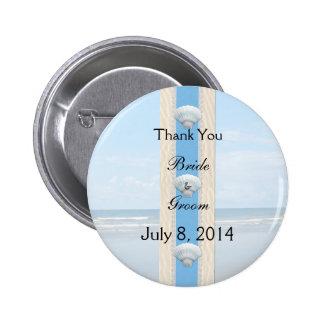 Seashell Beach Wedding Thank You Pinback Buttons