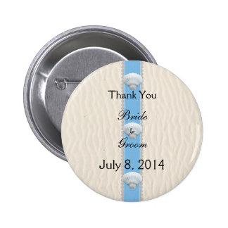 Seashell Beach Wedding Thank You Button