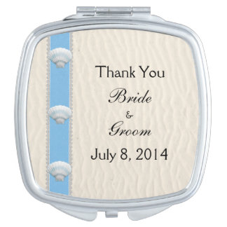 Seashell Beach Wedding Thank You Compact Mirror