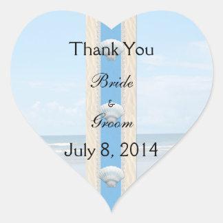Seashell Beach Wedding Thank You Heart Stickers