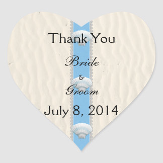 Seashell Beach Wedding Thank You Heart Sticker