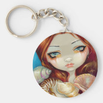 art, fantasy, mermaid, mermaids, ocean, sea, water, redhead, red, hair, shell, shells, seashell, seashells, beach, sea shells, eye, eyes, big eye, big eyed, jasmine, becket-griffith, becket, griffith, jasmine becket-griffith, jasmin, strangeling, artist, goth, gothic, fairy, gothic fairy, faery, fairies, faerie, fairie, lowbrow, low brow, big eyes, Keychain with custom graphic design