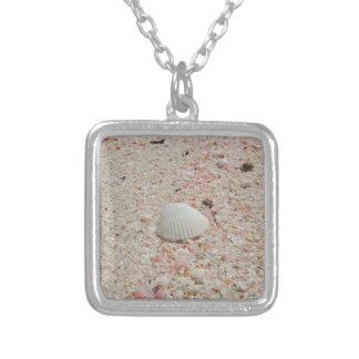 Seashell blanco en la playa rosada de la arena grimpolas