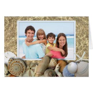 Seashell Border Family Photo Christmas Card
