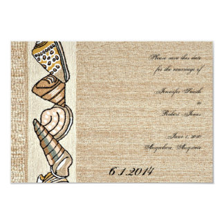 Seashell Border on Brown Weave Save the Date Card