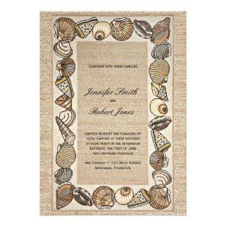 Seashell Border on Brown Weave Wedding Personalized Invitations