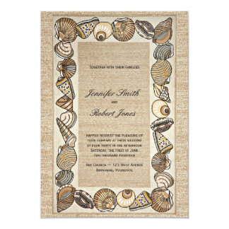 Seashell Border on Brown Weave Wedding 5x7 Paper Invitation Card