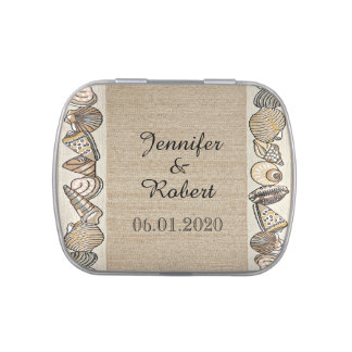 Seashell Border on Brown Weave Wedding Jelly Belly Candy Tin