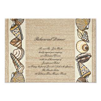 Seashell Border on Brown Weave Wedding Rehearsal Card