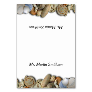 Seashell Border Tented Name Place Cards