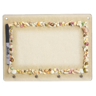 Seashell Border with Beach Sand Dry Erase Board With Keychain Holder
