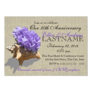Seashell Bouquet 10th Anniversary Beach Party Card