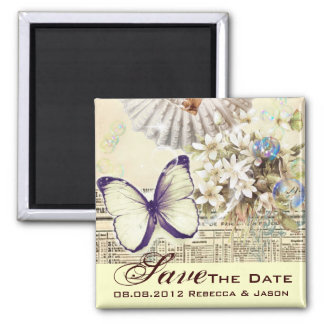 seashell butterfly botanical wedding save the date magnet