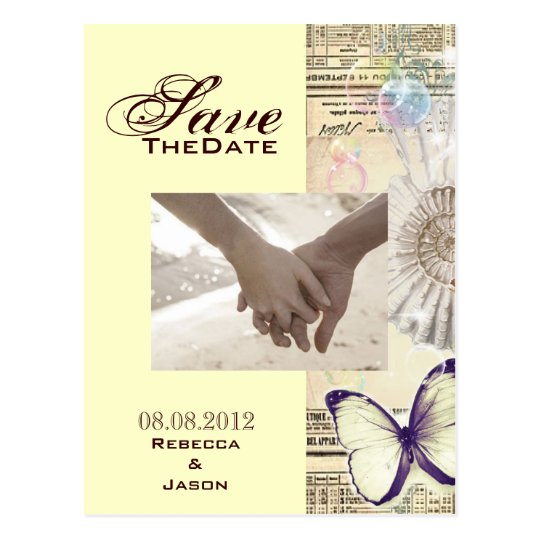 seashell butterfly botanical wedding save the date postcard