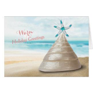 Seashell Christmas Tree Warm Greetings Message Greeting Cards