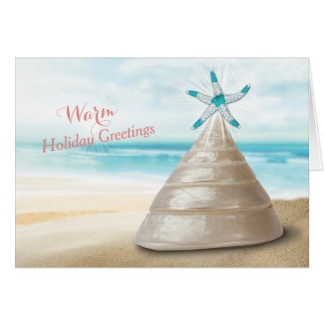 Christmas Themed Seashell Christmas Tree Warm Greetings Message Card