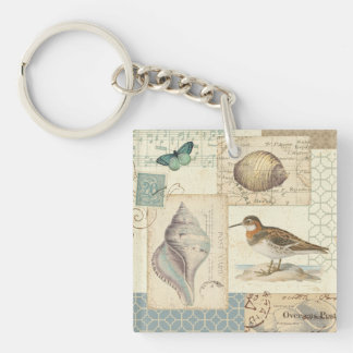 Seashell Collage Double-Sided Square Acrylic Keychain