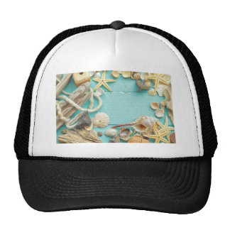 seashell collage on Turquoise background Trucker Hat