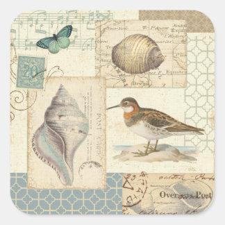 Seashell Collage Square Sticker