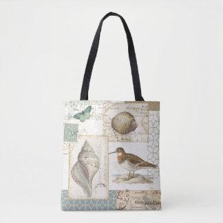 Seashell Collage Tote Bag