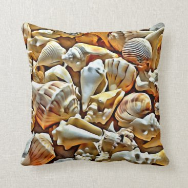 Beach Themed SEASHELL COLLECTION THROW PILLOW