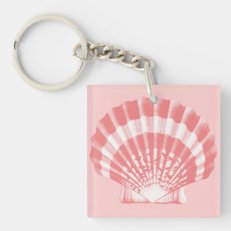 Seashell - coral pink and white keychain