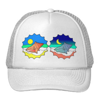 Seashell Day and Night Trucker Hat