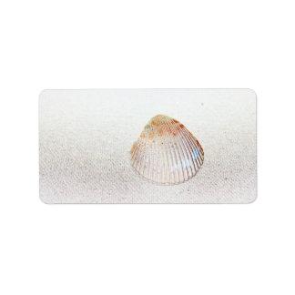 seashell de la luz de la parte posterior de la etiquetas de dirección