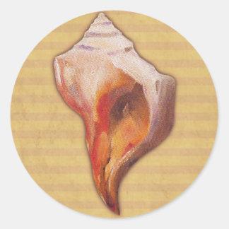 Seashell de la playa para la concha y Welk Shell Pegatina Redonda
