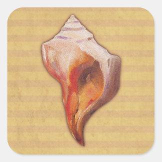 Seashell de la playa para la concha y Welk Shell Pegatina Cuadrada