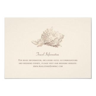 """Seashell de marfil de la tarjeta de información invitación 3.5"""" x 5"""""""