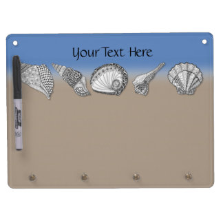 Seashell Drawing Art Dry Erase Board With Keychain Holder