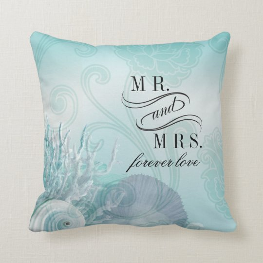 Seashell Dreams Beach Mr. & Mrs. aqua Throw Pillow