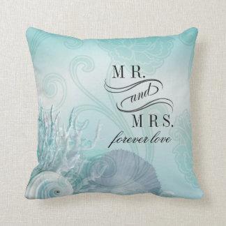Seashell Dreams Beach Mr. & Mrs. aqua Throw Pillow