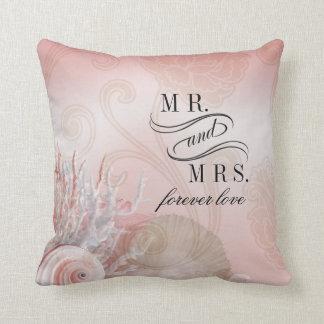 Seashell Dreams Beach Mr. & Mrs. pink Throw Pillow