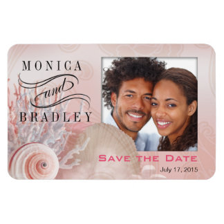 Seashell Dreams Beach Photo Save the Date pink Magnet