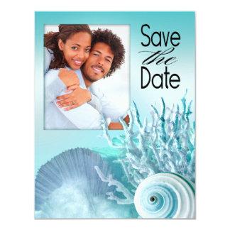 Seashell Dreams Beach Save the Date aqua Personalized Announcement