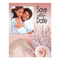 Seashell Dreams Beach Save the Date pink Custom Invitations