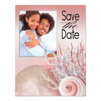 Seashell Dreams Beach Save the Date pink Custom Invitations