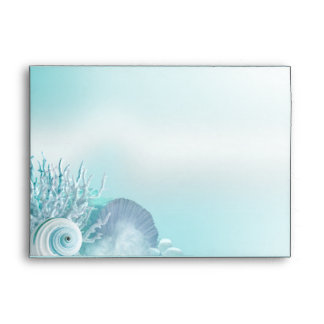 Seashell Dreams Beach Wedding A7 aqua Envelope