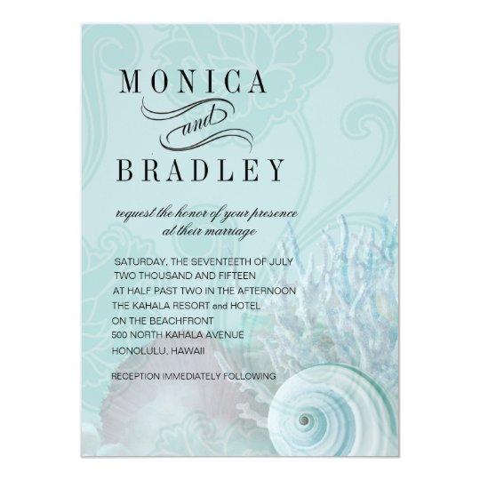 Seashell Dreams Beach Wedding aqua Card