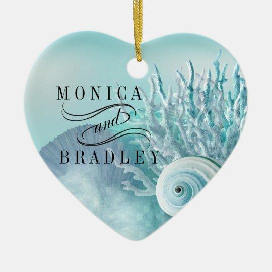 Seashell Dreams Beach Wedding aqua Ceramic Ornament